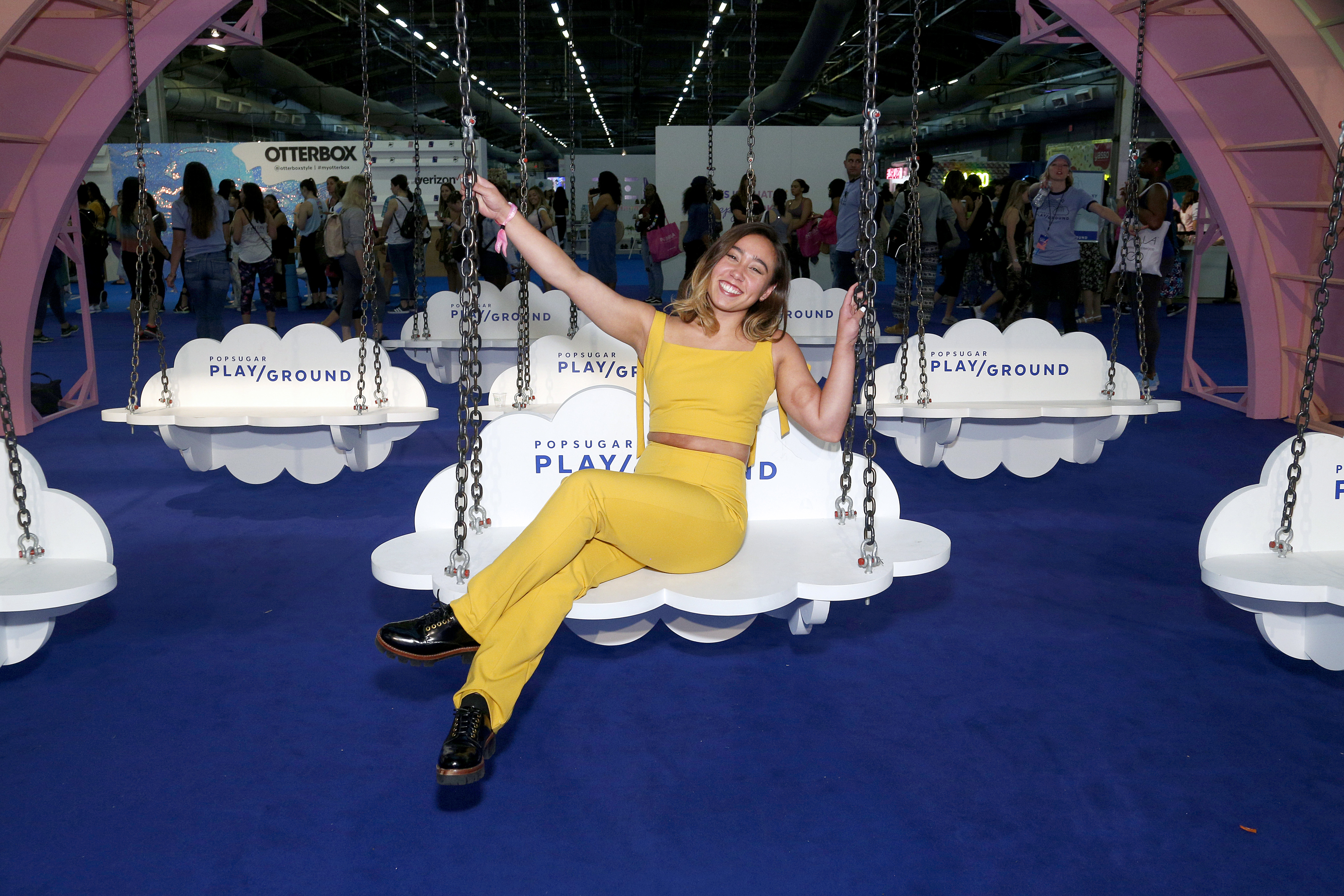 NEW YORK, NEW YORK - JUNE 23: Katelyn Ohashi  during POPSUGAR Play/Ground at Pier 94 on June 23, 2019 in New York City. (Photo by Lars Niki/Getty Images for POPSUGAR and Reed Exhibitions )